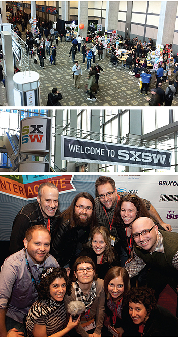 Talikin&quot; in Texas: SXSW has beomce increasingly important to librarians interested in emerging technologies. bottom photo: conference activists include (top row, l.-r._ Oliver Sanidas, Jonathan Smith, Carson Block, and Heather Block; (middle row, l.-r._ Eric Frierson, Lisa Carlucci Thomas, and Paul Vinelli; (bottom row, l.-r.) Andrea Davis, Karin Dalziel, Anne Slaughter, and Cindy Fisher. Top two photos by Lisa Carlucci Thomas, group photo 2012 Mona T. Brooks