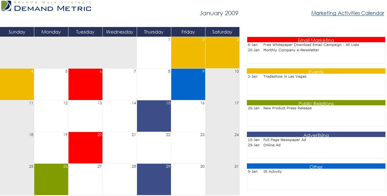 marketing activities calendar