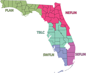 Florida&#039;s five library cooperatives, via NEFLIN