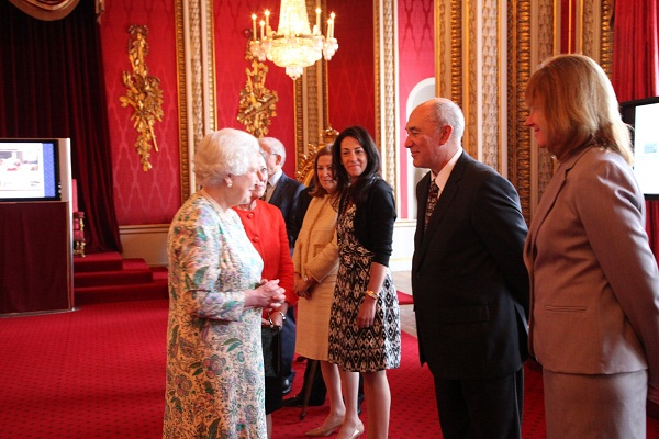 Queen Elizabeth II meets Rod Gauvin and Mary Sauer-Games of ProQuest
