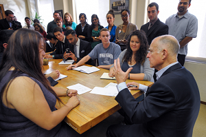 Governor Brown meets with students