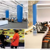 "THE COLORS OF TECHNOLOGY Cleveland PL's TechCentral uses as much white as possible to focus on the multimedia. A mural-sized orange-and-green tile wall was grandfathered into the space, and lighting on its back edge makes the colors pop. Orange-coated employees assist users, who will sit in orange chairs in front of computer stations displaying ""curvy, custom craftsmanship"" that allows the work spaces to work together"