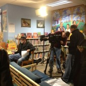 Good Morning America setting up to film at the Lansdowne library