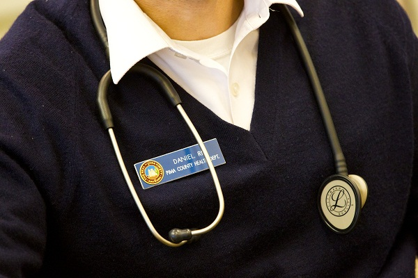 PCPL Library Nurse 112012 Daniels stethoscope close up In the Library, With the Stethoscope