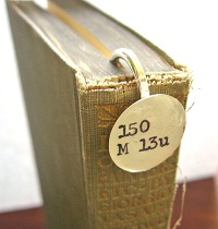 Dewey decimal bookmark in book