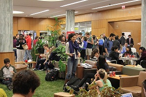 LobbyGrassCALSAlumAssocPizza.dec2012 Cornell Puts a Lawn in the Library