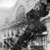 Train wreck at Montparnasse 1895, via Wikipedia