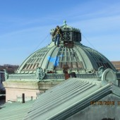 Bangor Library roof with tarp