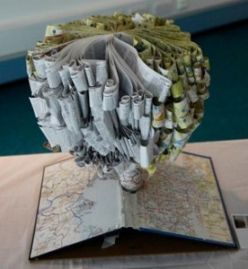 Map tree book art
