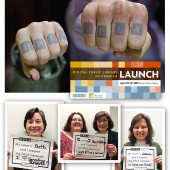 "BRANDING TOWARD LAUNCH (clockwise from top): Temporary tattoos on participants' hands at DPLA Midwest say ""we mean business"" when it comes to governance and authoring a road map to success; the official DPLA launch on April 18 is the culmination of dozens of events and many years of work from a wide range of stakeholders; a few of many photo booth support shots, spreading the word online about the launch event. Photos by Joey Mornin"
