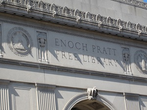 The facade of the Enoch Pratt library