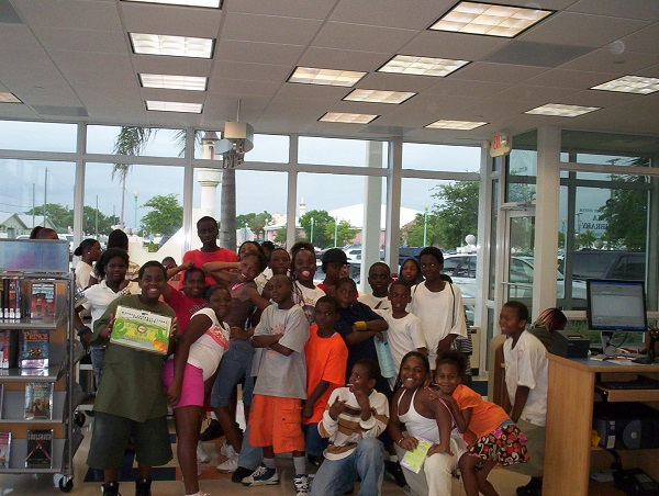 Students at the Opa-locka branch library