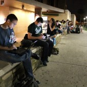 USF Students sit out to protest cuts to library hours photo by Briana Luis