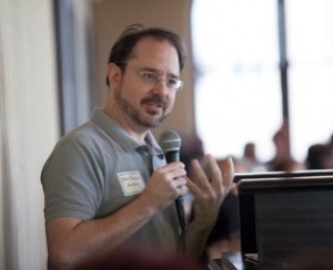 John Scalzi at the Movers and Shakers luncheon