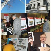 MEET US IN ST. LOUIS Top row, l.-r: St. Louis's famed arch is a welcome sight, as is the renovated downtown St. Louis Public Library (SLPL) Central Library, which played host to the day's activities. Middle row, l.-r.: LJ's Kathleen Quinlan helped attendees check in. Posters highlighted the featured design challenges. Bottom row, l.-r: SLPL's Central Library revamp was the subject of Library by Design's Fall 2013 edition, which attracted interested attendees. SLPL executive director Waller McGuire in his opening remarks discussed the massive effort to make over the Central Library and expand its services. Photos by Kevin Henegan