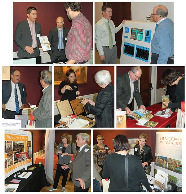 VENDOR INTERACTION Sharing info with attendees were sponsor firm reps, including (top row, l.-r.) Agati Furniture's Tim Macal (l.) and Joe S. Agati; Tim Lawson (l.) from Tech Logic; (middle row, l.-r.) Bill Overton, Overton & Associates; Margeline Nichols, TMC Furniture; Ken Reichel, Brodart Contract Furniture; (bottom row, l.-r.) Phil Tilghman, Spacesaver; and Janet Nelson, DEMCO. Photos by Kevin Henegan