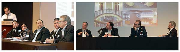 PANEL LINEUPS Left: Representatives from the architectural firms leading the challenge sessions offered insight during the Design Challenge Takeaway, moderated by LJ's Ian Chant (standing, l.). Right: Rounding out the panels was an exchange about redesigning older facilities, with (l.–r.) Bradd Brown from OPN Architects, Dan Meehan from HBM Architects, Steven Potter, with Mid-Continent PL, Kansas City, and James Stufflebeam from SAPP Design Architects. Photos by Kevin Henegan