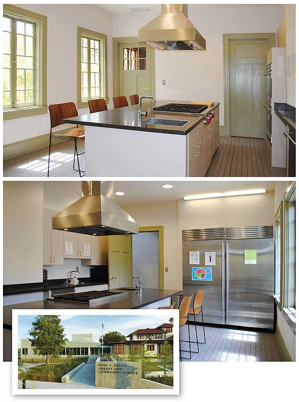 BETTER THAN EVER After being damaged by Hurricane Katrina in 2005, the kitchen at New Orleans's  Keller branch (bottom l.) has been rebuilt and greatly improved. Exterior photo by Timothy Hursley;  Interior Photos courtesy of Rosa F. Keller Library & Community Center