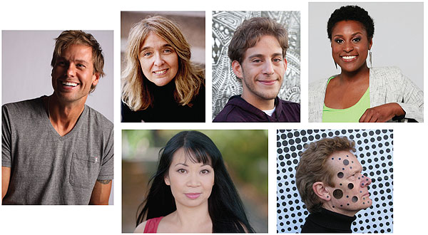 ALL BETS ARE ON Attendees at ALA will enjoy hearing from authors (top row, l.–r.) Ryan Winfield (Isn't It Romantic?),  Ann Hood (Hot Picks for Book Clubs), Adi Alsaid (First Author, First Book), Issa Rae (The Laugh's on Us), and (bottom row, l.–r.) Jean Kwok (Gala Author Tea), as well as daredevil Philippe Petit (United for Libraries President's Program).  Winfield photo by Mike Chard; Hood photo by Joyce Ravid; Rae photo by Leroy Hamilton;  Kwok photo ©Chris Macke