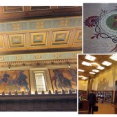 PERIOD DETAILS (Clockwise, from top l.): Updates like smoke detectors, fire-suppression heads, and security cameras are unobtrusive against the Frank Van Sloan mural in the memorial vestibule; newly uncovered floor tile in the circulation room; reference librarian Suzanne Grimshaw helps a customer in  the Gillis Reading Room