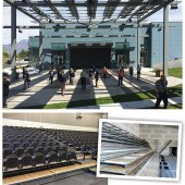 OPEN TO ANYTHING SLCL's hangar door joins flexible interior space to an outdoor amphi­theater (top), shaded by  solar panels. High-end bleachers were installed (bottom rt.), to provide theater-style seating (bottom l.).  Completed photos by Rebecca Miller; construction photo c/o SLCL