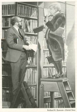 "Frederick Ruffner and ""The Bookworm"" painting formerly from Leary's Bookstore in Philadelphia"