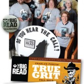 "BIG DEAL Marketing drives city read participation. (top-bottom): Dearborn PL readers were ""wild"" about the kickoff for its 2014 Big Read; Kansas City PL chose True Grit in 2013; and Seattle PL branded its program with an iconic logo"