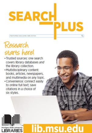 Michigan State University Search Plus Promotional Poster