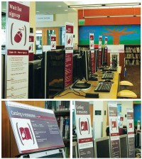 ICONS Pictorial icons (in their largest view, l.) assist customers visually, communicating information at a glance and helping to bridge language barriers. Careful attention was given to the content, instructions, layout, and hierarchy of information displayed to ensure clear communication with a friendly voice. A single color scheme at all locations guarantees consistency. It had to be appropriate and visible in a variety of environments, each with its own interior color choice. The universal icon colors and design make it easy to transfer items among facilities