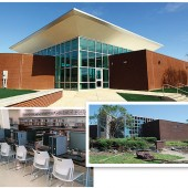 STANDING STRONGER Birmingham's Pratt City Branch came back from a 2011 tornado (inset) with an aerodynamic roofline built to channel winds and safeguard against future damage. Inside (bottom l.), computer stations (below) offer expanded capability after a tornado tore the roof off the building. Top photo by Chanda Temple/Birmingham PL; bottom photo by Melinda Shelton/Birmingham PL