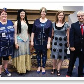 ALL DRESSED UP Getting in the spirit of Doctor Who Day were staffers (l.–r.) Mary Hearth, Willow Hearth, Aimee Villet, Linda Dyndiuk, and  Rob Lorino