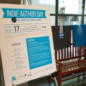Indie Author day poster and T-shirts