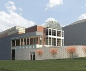 An architect's rendering of the newly renovated library at Sweet Briar College