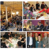 1. The Main Library's Guastavino Room was an impressive backdrop to registration and lunch. 2. Attendees tossed around ideas during the Gloucester Lyceum/Sawyer Free Library's challenge session. 3. The Open Forum allowed for suggestions from participating architects (l.–r.) Aimee G. Lombardo (LLB Architects), Peter Gisolfi (Gisolfi Associates), Peter Bolek (HBM Architects), and Matthew Oudens (Oudens Ello Architecture). 4. The challenge session for Maryland's Towson University brought about solid strategies. 5. The session on creative and inspirational spaces featured experts (l.–r.) Conrad Ello (Oudens Ello Architecture), Michael Colford (director of library services at Boston PL), moderator Emily Puckett Rodgers (School of Information, University of Michigan), and Jeff Hoover (Tappé Architects). Photos by Kevin Henegan