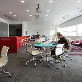COLLABORATE & LISTEN Staff, like patrons, need flexible spaces in which  to work together, as illustrated by North Carolina State University's Hunt Library.  Photo by Brent Brafford/NCSU