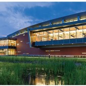 A NATURAL PARTNERSHIP The Tidewater Community College/City of Virginia Beach Joint-Use Library balances unique design against the retention ponds created to absorb rainwater. Photo ©Jeff Goldberg/Esto