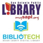 San Antonio Public Library and Bexar County Bibliotech Digital Library logos