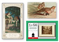 "IMAGINE THAT (Clockwise from l.): A historical menu from NYPL's collections; an illustration of a sandgrouse from the Biodiversity Heritage Library's Flickr stream; and a screen from Tiltfactor's ""Stupid Robot"" tagging game"