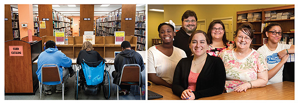 WHAT LIBRARIES DO The Ferguson Municipal PL (FMPL) is a well-used community resource. (Top row, l.–r.): The laptop computer workstations are popular with patrons. The FMPL team: (l.–r.) Crystal Smith, Director Scott Bonner, Amy Randazzo (front), Allison Repking, Joanne Chiu, and Magdalene Linck. Photos by Sid Hastings