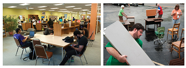 Left: a typical day at the library. Right: director Bonner (foreground) joins board members (l.–r.) Peggy Foege, Jeff Appel,  and Theresa Smythe in preparing for an  FMPL-sponsored yard sale. Photos by Sid Hastings