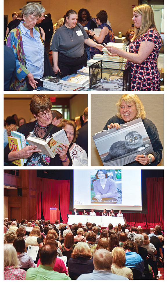 DAY OF DIALOG opens in its new NYU setting. At top, Erica Melnichok of Random House Library Marketing passes out goodies. Middle, attendees with books and bags. At bottom, first up, the Editors' Picks panel, with HarperCollins's Jennifer Barth introducing Alafair Burke's The Ex. Photos ©2015 William Neumann