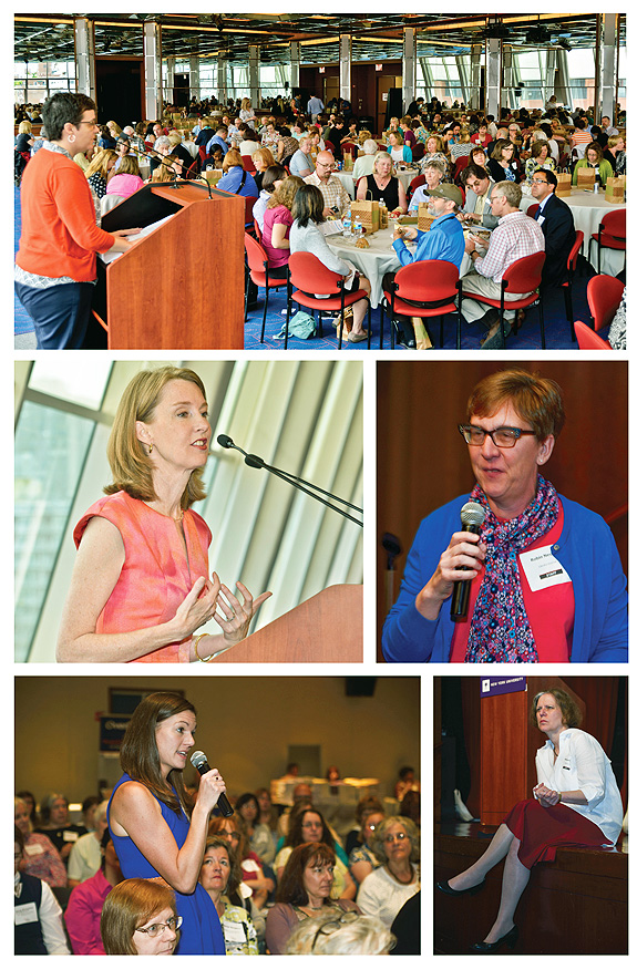 MID-DAY EVENTS. At top, Book Review Editor Henrietta Verma introduces SELF-e Select at lunch. Middle, luncheon speaker Gretchen Rubin (l.) and Town Hall meeting leader Robin Nesbitt, Columbus Metropolitan Library (r.). At bottom (l. to r.), an attendee speaks up at the Town Hall meeting as Barbara Hoffert listens intently Photos ©2015 William Neumann