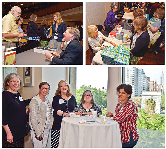 WRAPPING UP. At top, authors signing books at the end of the day included Charles Belfoure (l.) and Kathy Reichs (r.). At bottom, the reception area had splendid views of Washington Square Park. Photos ©2015 William Neumann