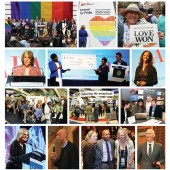 GOOD TIMES AT ANNUAL. Top row, l.-r.: Celebrating the Supreme Court decision on the Defense of Marriage Act at San Francisco's City Hall; on the show floor, 3M set up a Diversity Wall to promote diverse books and made a donation for each title suggested; Sunday's Pride Parade headline said it all. Second row, l.-r.: ALA Keynoter Roberta Kaplan dovetailed with the historic events of the week in her speech at the Opening General Session; Enoch Pratt Free Library's Melanie Townsend-Diggs and Carla Hayden (holding check, l.–r.) received TechLogic's People First Award during the Opening Session; Sarah Lewis headlined at the ALA President's Program, Third row, l.-r.:  the exhibits, as always, were a huge draw; the Knight Foundation took the opportunity to make a big announcement. Fourth row, l.-r.: part of the Auditorium Speaker Series, Gloria Steinem drew a crowd; the winners of the Andrew Carnegie Medals for Excellence in Fiction and Nonfiction were announced, with keynote by basketball legend–turned–novelist Kareem Abdul Jabbar, Nonfiction winner Bryan Stevenson (12)—Just Mercy: A Story of Justice and Redemption­—posed with well-wishers; fiction winner Anthony Doerr (13)—All the Light We Cannot See—was all smiles. Photos by Tom Graves and James Rosso/TwiceHeroes.com