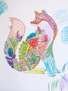 Page from Johanna Basford's Enchanted Forest: An Inky Quest & Coloring Book, colored by LJ Editorial Director Rebecca T. Miller and family; for more, see http://reviews.libraryjournal.com/2015/07/in-the-bookroom/staffreads/coloring-geeking-watching-witching-more-what-were-reading/