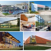 VISIONS TO BUILD ON (Clockwise from far l.): Vancouver Community Library, Cedar Rapids Public Library, Pico Branch Library, Lawrence Public Library, Bayview Linda Brooks-Burton Branch Library, Mitchell Park Library & Community Center, and East Baton Rouge Parish Main Library at Goodwoo-d. Top row photos by (l.-r.) Wayne Johnson/Main Street Studio; and William Short (r.). Middle row photos by (l.-r.) Alan Karchmer; Gregory Cortez; and Mike Sinclair. Bottom row photos by (l.-r.) Nic Lehoux; and William Short