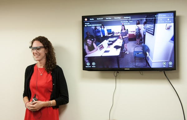 Maura Ferrarini wears eye-tracking devices