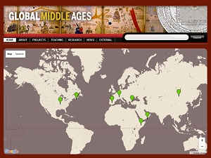 Screenshot of GlobalMiddlesAges.com homepage, featuring a map geolocating the eight projects