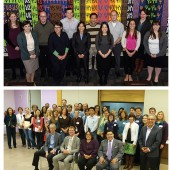 CONVENING A COHORT: (top) A subset of the cohort at the National Library of Medicine (NLM) hired through the Pathways program; (bottom) San Francisco Public Library's internal cohort, Gen PL. Left photo by Stephen Greenberg; right photo courtesy of SFPL