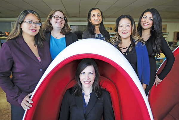 IN THE DRIVER'S SEAT Bourne is surrounded and supported by her team (l.–r.): Michelle Amores, Division Manager; Chaunacey Dunklee, Division Manager (Acting); Vidya Kilambi, Division Manager (Acting); Jenny Choi, Administrative Officer; and Elizabeth Castañeda, Marketing and Communications Manager. Photo ©2017 Tom Graves